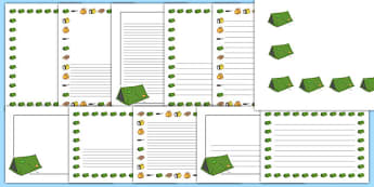 Camping Page Borders - camping, page borders, writing frames, camp, activity