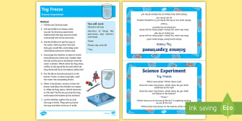 EYFS Toy Freeze Science Experiment and Prompt Card Pack - Toys, water, sinking, floating, density, ice, frozen, freeze,