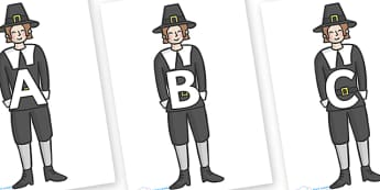 A-Z Alphabet on Pilgrims - A-Z, A4, display, Alphabet frieze, Display letters, Letter posters, A-Z letters, Alphabet flashcards