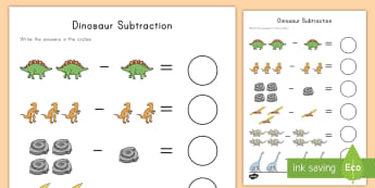 Dinosaur Themed Subtraction Activity - subtraction, math, dinosaurs, activity, problem-solving, sums, math center, math station