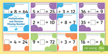 Year 3 Multiplication and Division Missing Number Challenge Cards - 2x, 3x, 4x, 5x, 8x, problem solving, times tables, multiplication tables