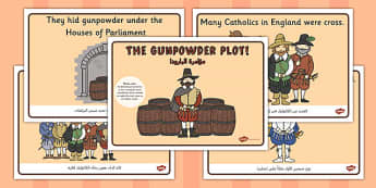 The Gunpowder Plot Story Sequencing Arabic Translation - arabic