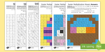 Easter Multiplication Mosaics Differentiated Activity Sheets English/Polish - UKS2 Easter 2017 (16th April), year five, year 5, Y5, year 6, year six, Y6, maths, multiplication, k