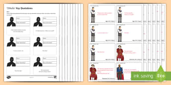 Othello Key Quotations Pack - Othello, Iago, Desdemona, Cassio, Emilia, Brabantio, Shakespeare.
