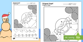 Simple Origami Christmas Angel Paper Craft English/Afrikaans - December, celebrate, make, create, creative, Desember, EAL