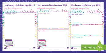 Feuilles d'activités : Mes bonnes résolutions pour 2018 - Jour de l'An, Premier, Janvier, An, Année, Nouvel, Nouvelle, voeux, Résolution, futur, cycle 1, C