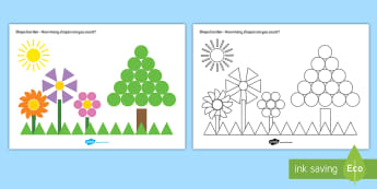 Shape Garden Counting Activity - shape, shapes, maths, numeracy, shape games