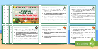 Christmas Mental Maths Challenge Cards English/Afrikaans - December, celebrate, multiplication, division, add, subtract, EAL