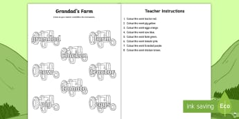 Grandad's Farm Listen and Colour the Word Activity Sheet - worksheet, Aistear, Exploring My World, Story, Farm, Animals, Tractor, Pig, Cow, Chicken, Literacy,