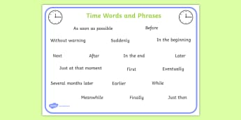 Time Connectives Word Mat- time connectives, mat, time, connectives
