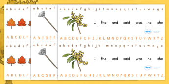 Autumn Alphabet Strip - a-z, writing aid, visual aid, spelling