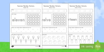 Summer Math Numbers 11-20 Activity Sheets - Summer, summer season, first day of summer, summer vacation, summertime, number recognition, number