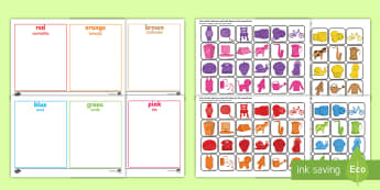Colour Sorting Activity English/Portuguese - Colour Sorting Activity - colour, sorting, matching, game, puzzle, mathching, eal