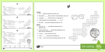 'gl' Consonant Blend Differentiated Crossword - gl, gl sound, phonics, reading, spelling, 1st class, first class, 2nd class, second class, jolly pho