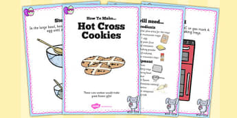 Hot Cross Cookies Recipe Cards - recipe, cards, hot cross cookies