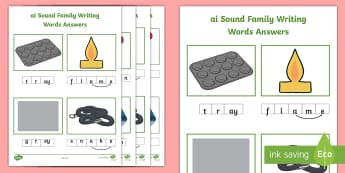 ai Sound Family Writing Words Worksheet / Activity Sheets - Phonics activity, phase 3, letters and sounds, ai sound, find the sound, sort the pictures, write th