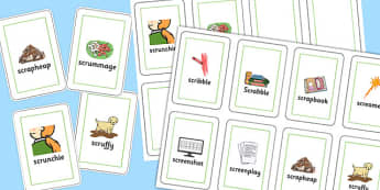 Two Syllable SCR Playing Cards - speech sounds, phonology, articulation, speech therapy, cluster reduction, complex clusters, three element clusters