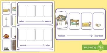 Workstation Pack: Height Ordering (Four Pictures) Activity Pack - Workstation, TEACCH, height, tallest, shortest, maths shape and measure