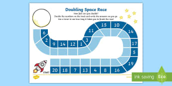 Doubling Race Activity Sheet - doubling, race, worksheet, game, double