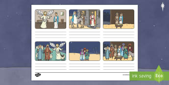 Nativity Storyboard Template - christmas, bible, stories, jesus, birth, christ, nativity story, xmas, christian