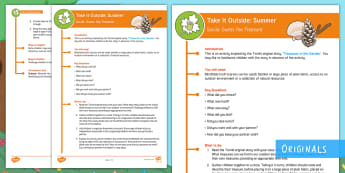 Take It Outside: Summer Guess the Treasure KS1 Activity - outdoor, outdoor classroom, learning, outdoor learning, treasures in the garden, environment, proble, outdoor, woodland learning, twinkl outdoor and woodland learning owl get it