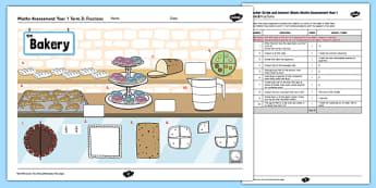 Year 1 Maths Assessment Fractions Term 3 - summer, ks1, key stage, numeracy, test, progress, targets, data, information, record, learning, ability