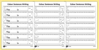 Colour Sentences Writing Activity Sheet Pack, worksheet