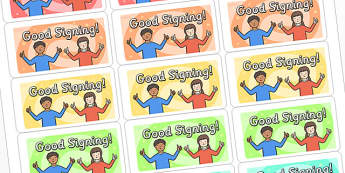 Good Signing Multicolour Stickers - good signing stickers, marking stickers, work marking stickers, good signing, signing, teacher marking stickers