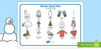 Winter Word Mat English/Mandarin Chinese - writing aid, topic words, skis, ice skates, polar bear, whale, penguin, huskey, snow, winter, frost,