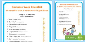 Kindness Week Children's Checklist English/French - Twinkl Kindness Week, kindness week, twinkl kindness week, kind resources, acts of kindness, EAL Fre