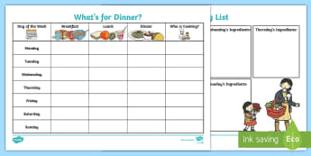 What's for Dinner Activity Sheet - family, young people, behaviour, budgeting, chores, worksheet
