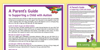 A Parent's Guide to Parenting a Child with Autism Adult Guidance  - KS1&KS2 World Autism Awareness Day (2nd April 2017), guidance, parenting, autism, asd