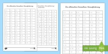 Die ultimative Einmaleins Herausforderung Arbeitsblatt - Die ultimative Einmaleins-Herausforderung, Arbeitsblatt, Eimaleins, Malnehmen, Rechnen, Multiplizier