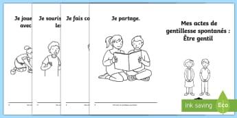 Livret : Les actes de gentillesse spontanés - Altruisme, actions, bienveillance, cycle 1, cycle 2,French