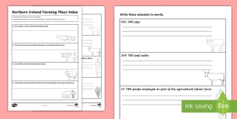 Farming Place Value Activity Sheet - Statistics, agriculture, World Around Us, themes, topics, worksheet