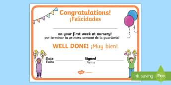 First Week Award Certificate English/Spanish - EAL, nursery, transition, new starter, translation