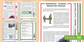 CfE Second Level First World War Differentiated Reading Comprehension Resource Pack - World War 1, War and conflict, Remembrance Day