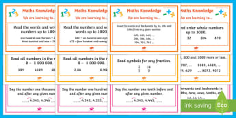 Number Knowledge WALT cards stages 5 - 7 Display Pack - WALT cards for NZ Mathematics