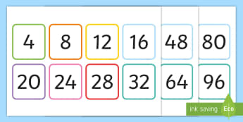 Multiples of 4 Flash Cards - Multiples of 4 Flash Cards - multiples, counting, times table, count, multiplication, division, flas