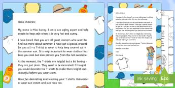 Editable Miss Sunny T-Shirt Decorating Letter - Summer, sun, creative, design, Art, topic, weather, EYFS