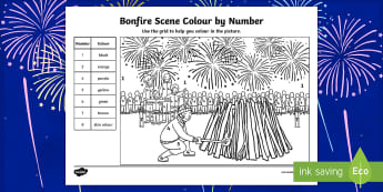 KS1 Bonfire Night Scene Colour by Number - guy fawkes, fireworks, bonfire night, november, celebrations