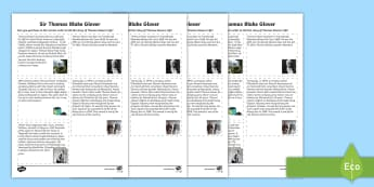 Thomas Blake Glover Sequencing Activity Sheet - Scottish significant individual, Japan, Scotland, Scottish samurai, Aberdeen, Fraserburgh, Nagasaki,