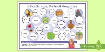 What Is Geography? Display Poster - terminology, key words, topics, literacy, classroom