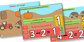 Autumn Themed Subtraction PowerPoint - autumn, subtraction, powerpoint, subtraction powerpoint, autumn powerpoint, numeracy, maths, numbers, take away, minus