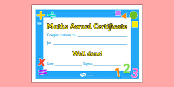 Maths Award Certificate - Maths, math, award, editable, scroll, reward, award, certificate, medal, rewards, school reward