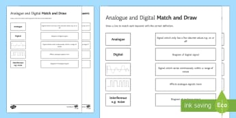 Analogue and Digital Signals Match and Draw - Match and Draw, waves, analogue, digital, signals, physics, types of waves, types of signal, starter activity