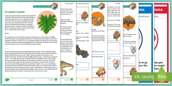 KS2 Prehistoric Times: Focused Reading Skills Comprehension Pack - Year 3, Year 4, Year 5, Year 6, reading dogs, SATs style questions, content domains, stone age