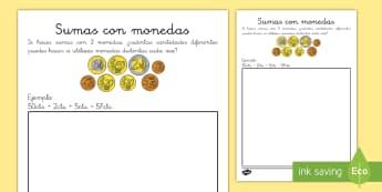 Ficha de actividad: Sumas con monedas - dinero, monedas, euros, céntimos, sumar, sumas, adición, añadir, mates, matemáticas, ficha,Spani