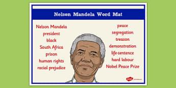 Nelson Mandela Word Mat - nelson mandela, word mat, keywords