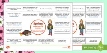 Spring Home Learning Activities Overview - Homework, outdoors, outdoor learning, parents, creative, elts, projects